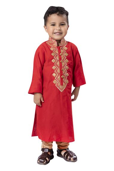 Patti embroidered kurta with churidar