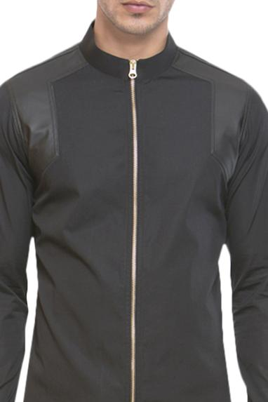 Zipper style leather panel shirt
