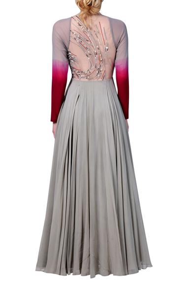 Raglan sleeves dress with sheer embroidered back.