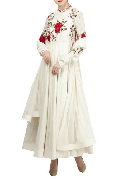 Chanderi rose embroidered angrakha kurta set