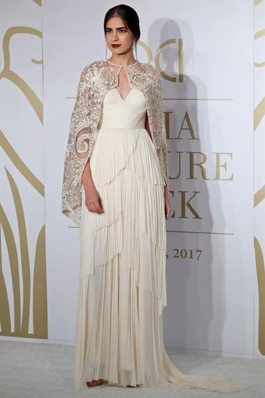 Silk Gown with Cape