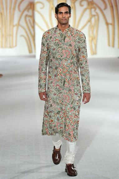 Floral embroidered sherwani with spun silk churidar