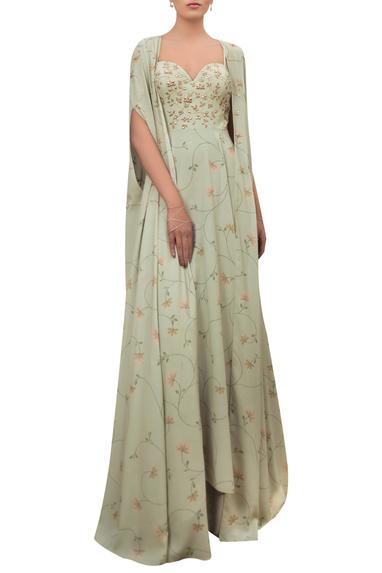 Floral Print Gown with Cape