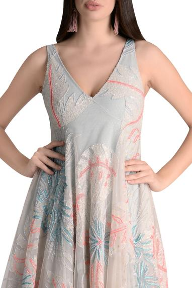 Embroidered gown with flared hemline
