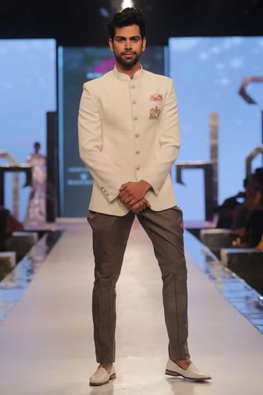 Bandhgala with pocket square & breeches