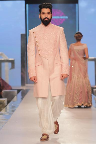 Embroidered sherwani with cowl style pants