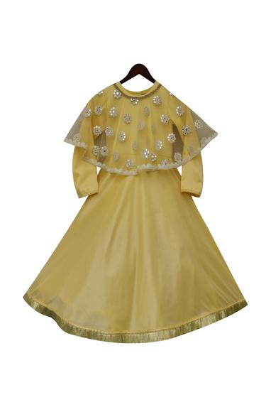 Cotton gown with mirror work
