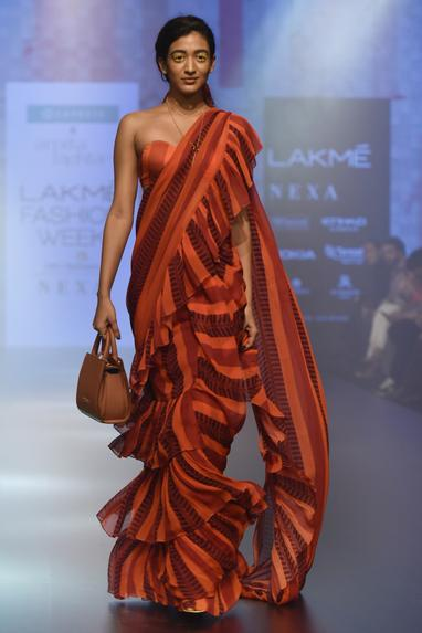 Striped ruffle saree with blouse