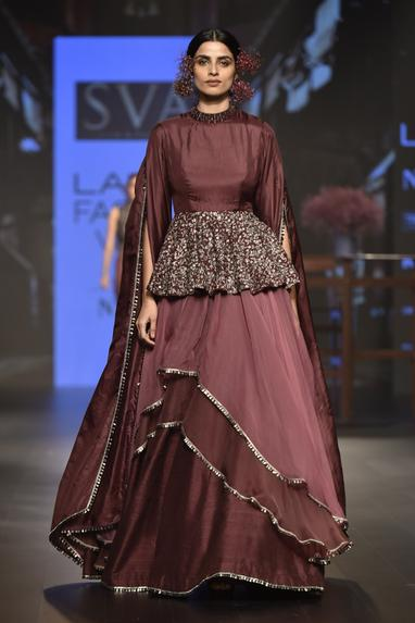 Flared sleeves peplum top with layered lehenga
