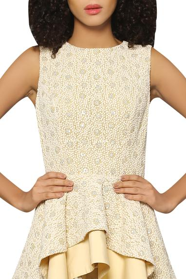 Peplum blouse with embroidered midi skirt