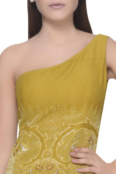 One Shoulder Embroidered Gown