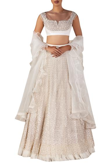 Embellished blouse with lehenga & ruffle dupatta