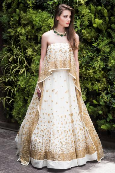 Embroidered asymmetric cape with lehenga