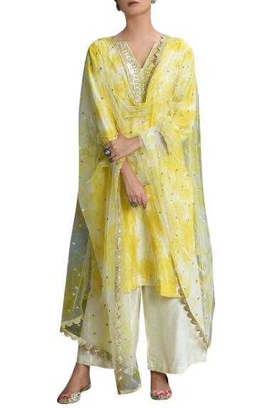 Tie Dye Embroidered Kurta Set