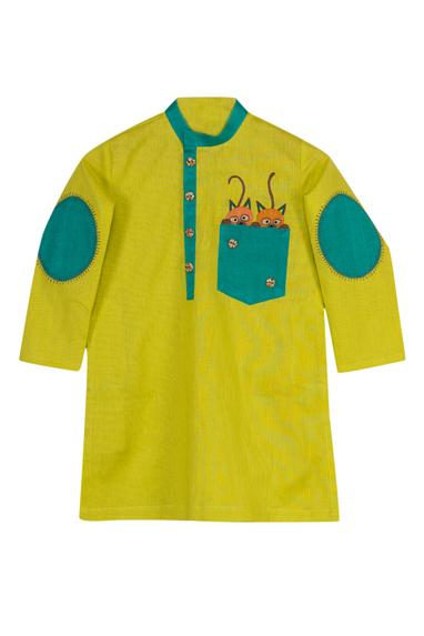Cat Motif Kurta With Churidaar