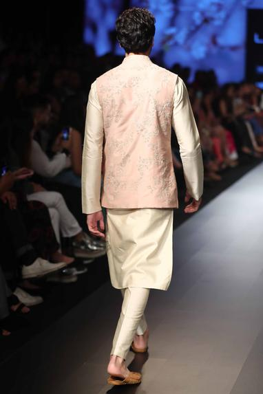 Embroidered nehru jacket with kurta and churidar