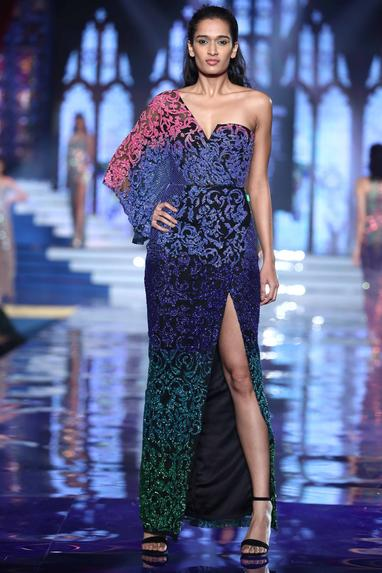 Buggle bead embroidered kaftan gown