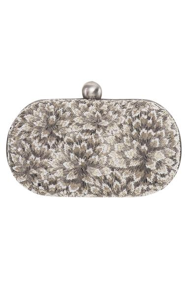 Floral Embroidered Oval Clutch