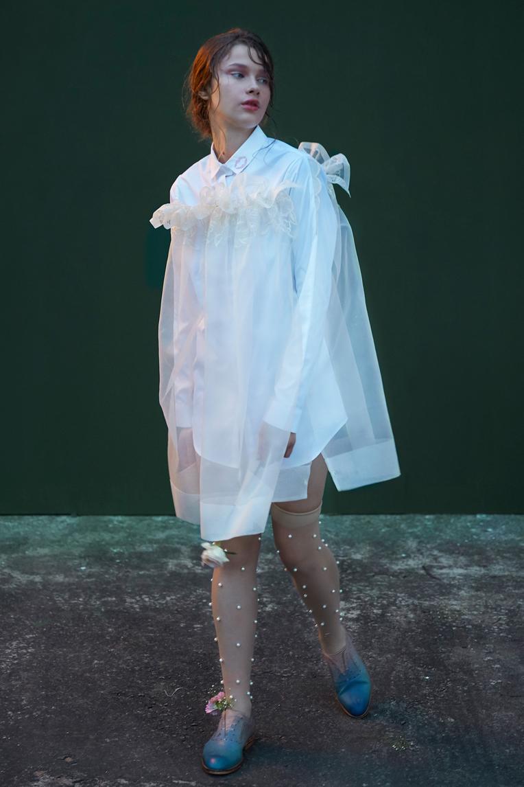 Organza Overlay Shirt Dress