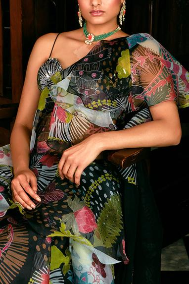 Printed Organza Saree with Hand Embellished Blouse