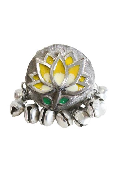 Enamel Carved Floral Ring