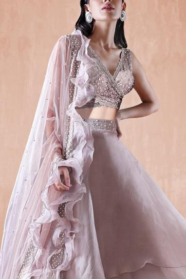 Hand Embroidered Blouse with Layered Lehenga