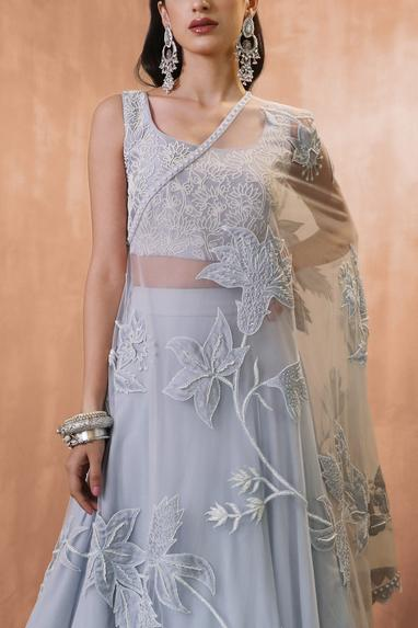 Hand Embroidered Cape with Lehenga Set