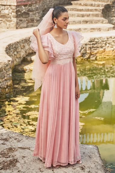 Embroidered Ruffle Gown