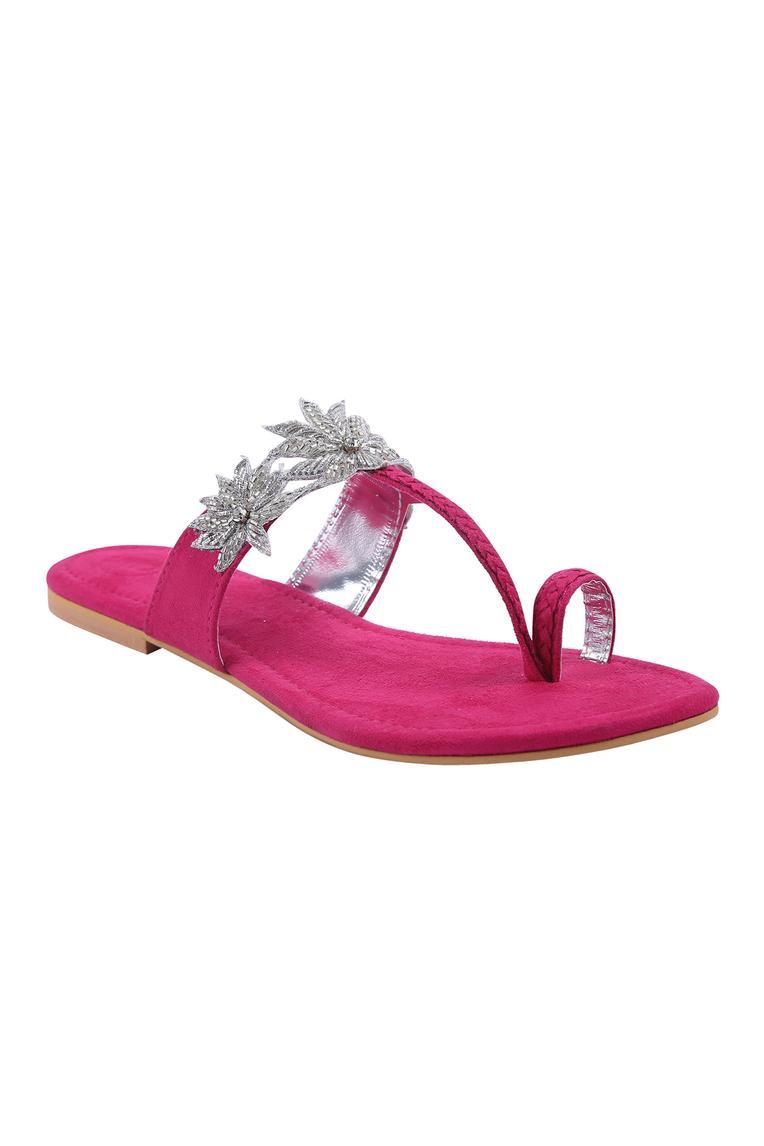 Suede Floral Kolhapuri Sandals