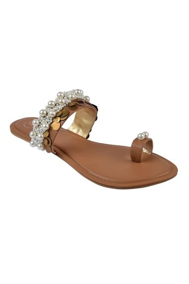 Coin Embellished Thumb Flats