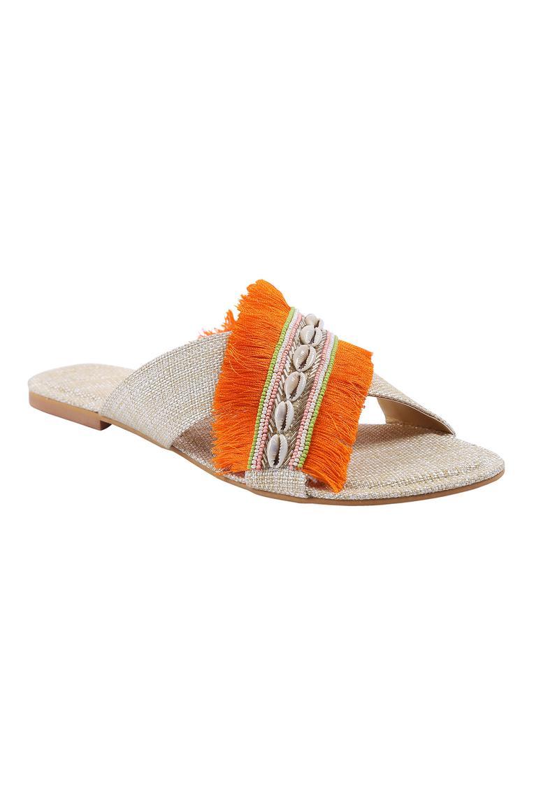 Jute Cross Strap Fringe Sandals