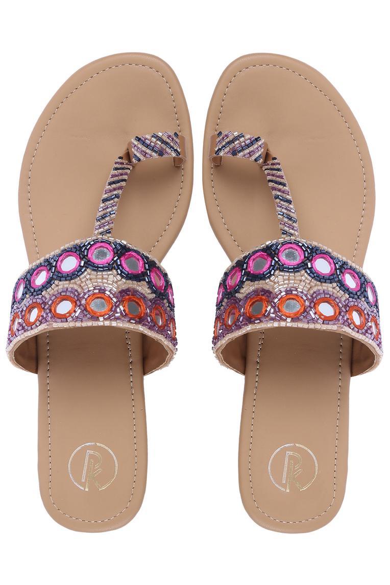 Mirror Embellished Kolhapuri Sandals
