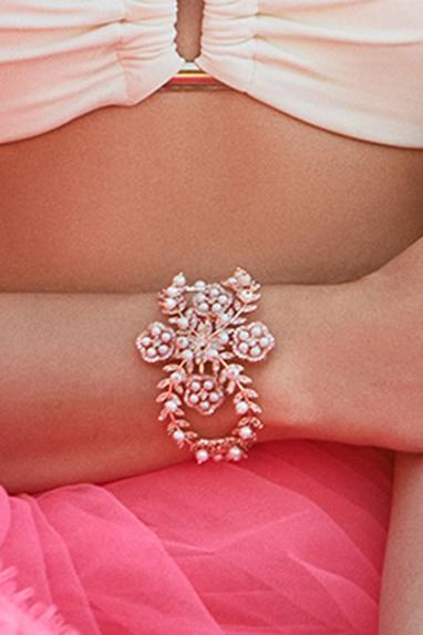 Marcelline Floral Bead Cuff