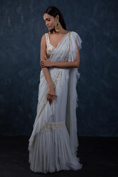 Ruffle Embroidered Saree With Blouse
