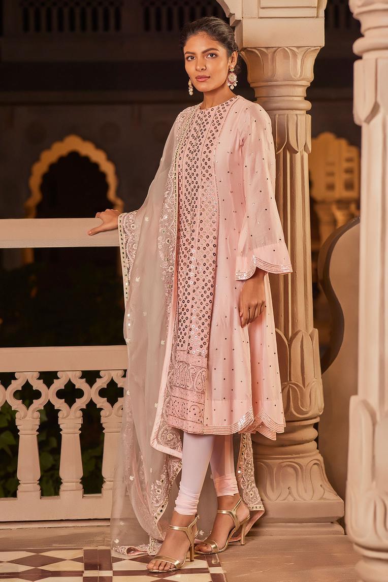 Chanderi Silk Anarkali with Dupatta