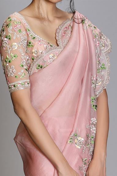 Organza Saree with Embroidered Blouse