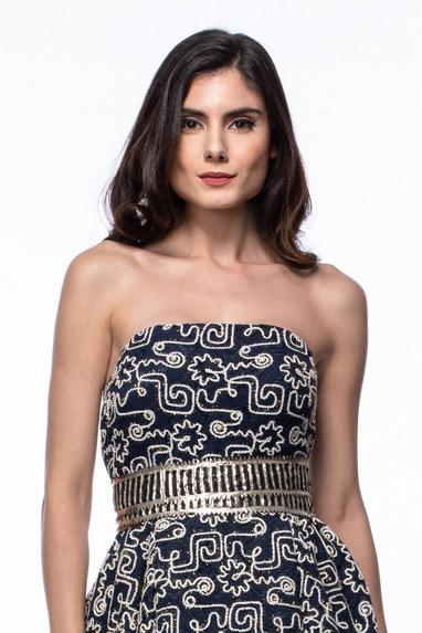 Embroidered Bandeau Gown