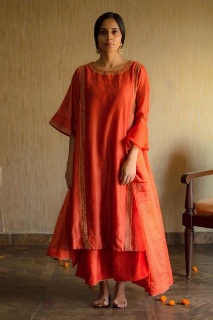 Embroidered Chanderi Kurta & Palazzo Set