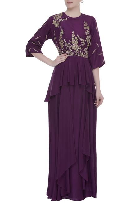 Peplum Style Patchwork Embroidered Gown