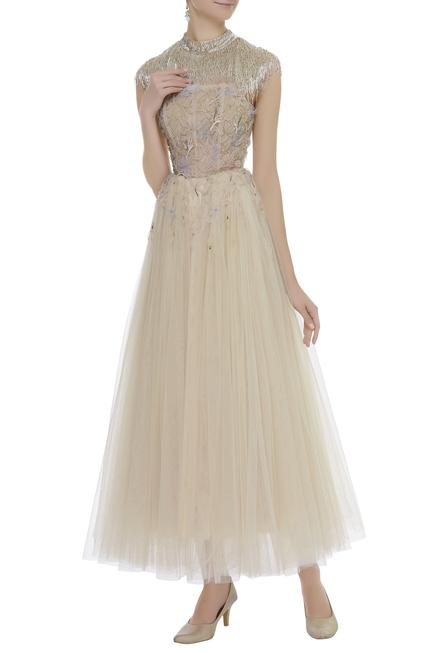 Embroidered Gown with Cape
