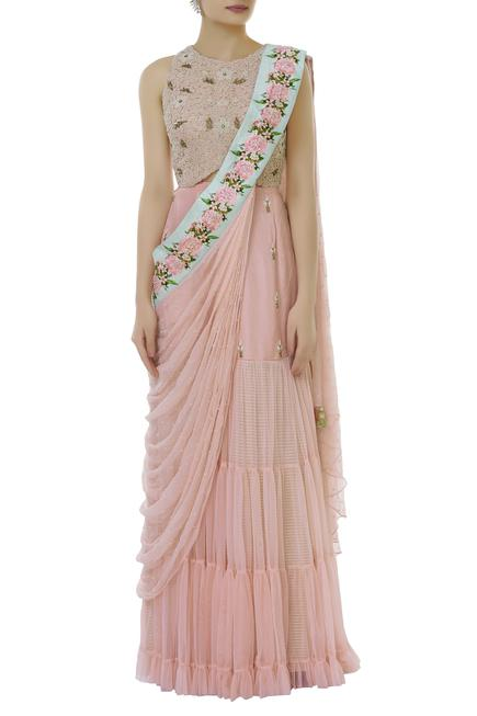 Embroidered lehenga set with cape