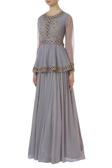 Embroidered Peplum Gown