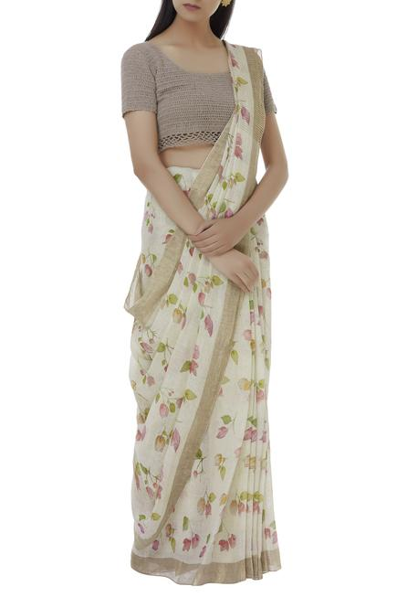 Linen printed saree
