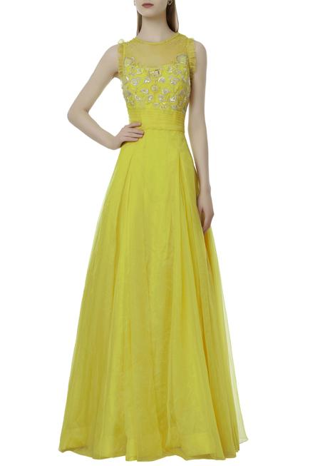 Embellished Pleated Gown