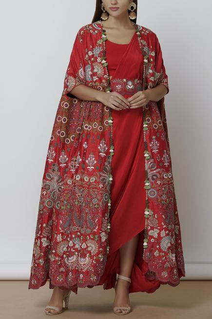 Embroidered Cape Skirt Set