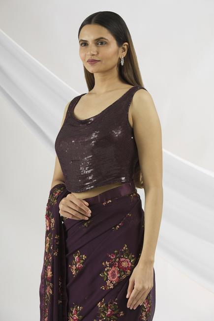 Floral Embroidered Saree  with Blouse