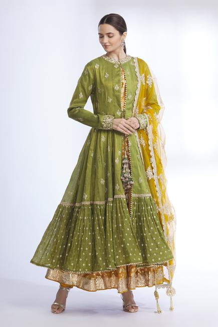 Embroidered Jacket & Chanderi Anarkali Set