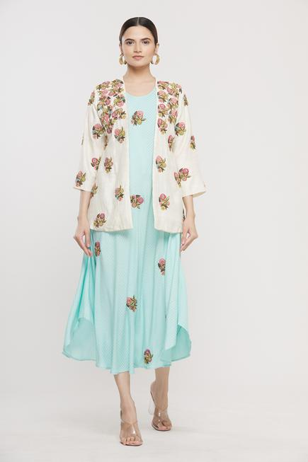 Embroidered Dress with Jacket