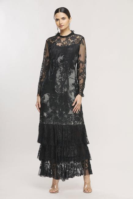 Floral Lace Layered Maxi Dress