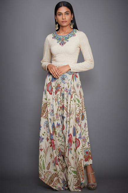 Embroidered Top Draped Pant Set